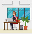 businesswoman in the office workplace scene vector image vector image