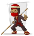 Cartoon Asian ninja in red mask with stick vector image vector image
