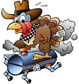 cartoon of an thanksgiving turkey riding a bbq vector image vector image