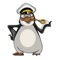cartoon penguin in a sea captains cap vector image