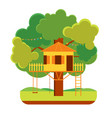 cartoon tree house vector image vector image