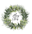christmas door wreath with evergreen tree decor vector image vector image