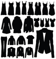 clothing in black silhouette vector image vector image