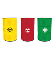 colorfu barrel with a radioactive warning label vector image