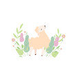 cute little lamb on green meadow adorable sheep vector image vector image