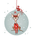 cute watercolor winter deer vector image vector image
