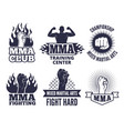 design template of sport martial labels for mma vector image
