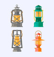 different oil lamp collection retro gas lamps vector image vector image