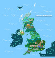 england united kingdom map with famous landmarks vector image vector image