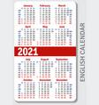 english calendar grid for 2021 vector image