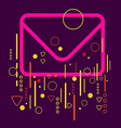 Envelope on abstract colorful geometric dark vector image vector image