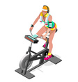 Exercise Bike Spinning Gym Class Isometric 3D vector image vector image