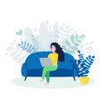freelance woman working online on laptop female vector image