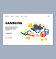 gambling web page isometric board games banner vector image vector image