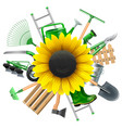 Garden Equipment with Sunflower vector image