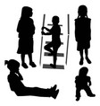 girls and baby silhouette