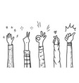 hand drawn sketch style applause thumbs up vector image vector image