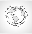 hands holding the earth two palms hold the globe vector image vector image