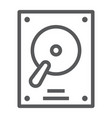 hard disk line icon electronic and device hdd vector image vector image