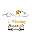 i love holiday van sky clound sun background vector image vector image