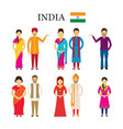 india people in traditional clothing vector image vector image