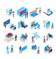isometric virtual reality simulations icons vector image
