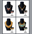 jewelry set necklaces earrings precious stones vector image vector image