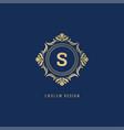 luxury ornate logo monogram crest template design vector image