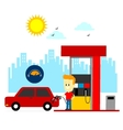 Man Filling Up Gas Tank vector image