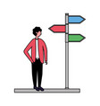 man standing with location arrows vector image vector image