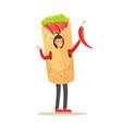 man wearing doner kebab costume fast food snack vector image vector image