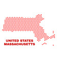 massachusetts state map - mosaic of love hearts vector image vector image
