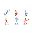 men in sports uniforms play baseball vector image vector image