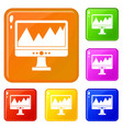 monitor and a chart icons set color vector image vector image