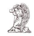 old murble stone sad angel kneeling near cross vector image