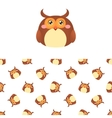 Owl Head Icon And Pattern vector image vector image