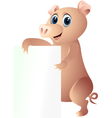 pig with blank sign vector image
