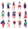 plus size beautiful women multiracial body vector image