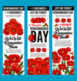 poppy banners remembrance day 11 november vector image vector image