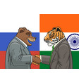 russian indian alliance vector image vector image