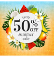 sale poster with tropical frame vector image vector image