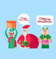 santa claus man woman elf helper holding gift box vector image vector image