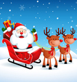 Santa Claus riding a sleigh with Reindeers vector image