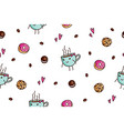 seamless pattern coffee and sweets vector image vector image