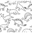 seamless pattern hand drawn doodle dinosaur vector image vector image