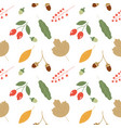 seamless pattern with acorns and autumn oak leaves vector image vector image