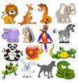set cartoon animals with crocodile snail snake vector image