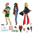 Set of pretty fashionable women vector image vector image