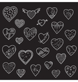 Set of sketch hearts vector image