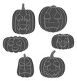 set pumpkins with faces for halloween vector image vector image